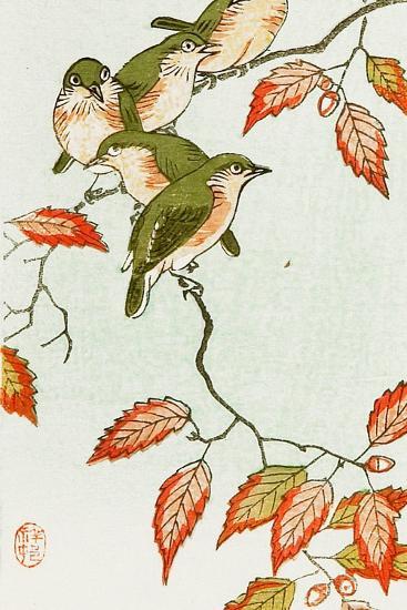 Five Small Birds Perch on a Acorn Tree-Koson Ohara-Giclee Print