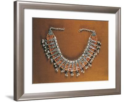 Five-Strand Coral Beaded Necklace with Silver Filigreed Elements, Yemen--Framed Giclee Print