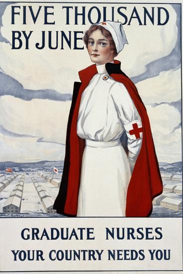 Five Thousand Nurses by June - Graduate Nurses Your Country Needs You Poster-Carl Rakeman-Giclee Print