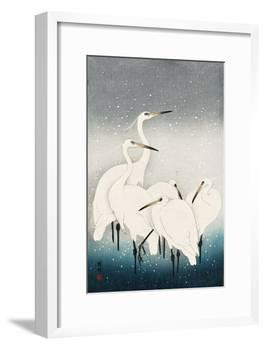 Five White Herons Standing in Water; Snow Falling-Koson Ohara-Framed Giclee Print