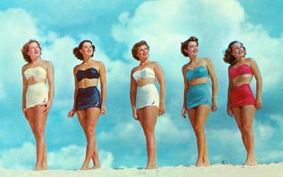 Five Women in Two-Piece Bathing Suits