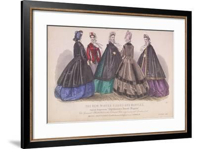 Five Women Wearing the Latest Winter Fashions, 1863--Framed Giclee Print