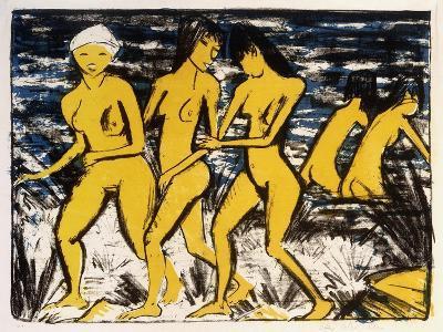 Five Yellow Nudes on the Water; Funf Gelbe Akte Am Wasser (Karsch 156A), 1921-Otto Muller or Mueller-Giclee Print