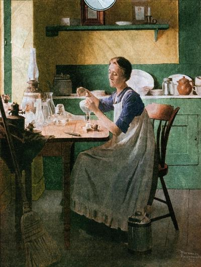 Fixing the lamp (or Woman in Kitchen)-Norman Rockwell-Giclee Print