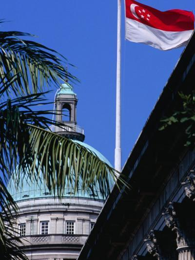 Flag and Dome of Old Supreme Court, Singapore, Singapore-Phil Weymouth-Photographic Print
