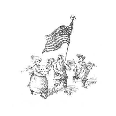 Flag , Drum and Apple Pie - Cartoon-John O'brien-Premium Giclee Print