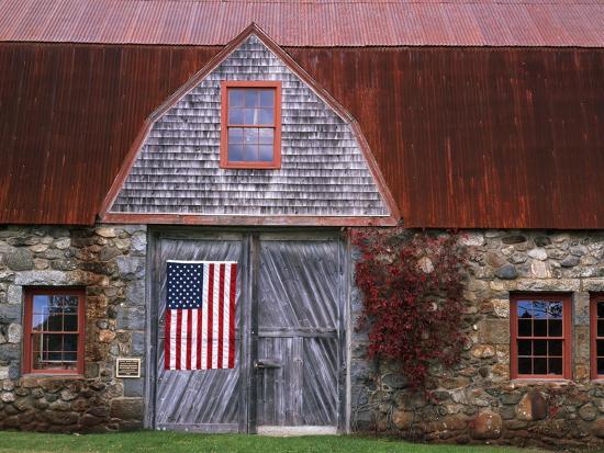 Flag Hanging on Barn Door-Owaki - Kulla-Photographic Print