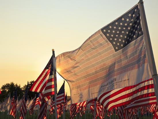 Flag of Honor and American Flags in Honor of the Ten Year Anniversary of 9/11, Salem, Oregon, Usa-Rick A^ Brown-Photographic Print