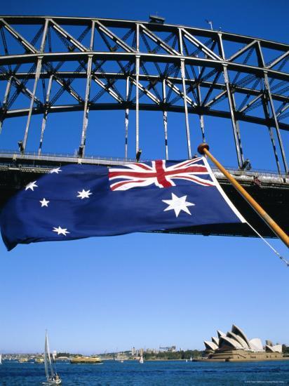Flag, Sydney Harbour Bridge and Opera House, Sydney, New South Wales, Australia-Fraser Hall-Photographic Print