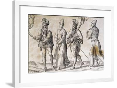 Flagellants and Soldier, Spain, 16th Century--Framed Giclee Print