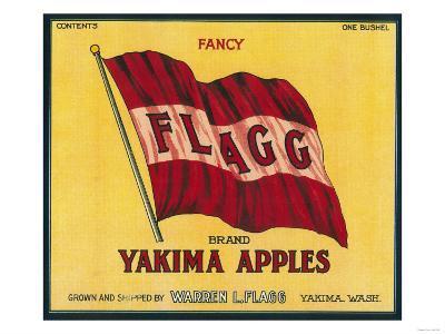 Flagg Apple Label - Yakima, WA-Lantern Press-Art Print