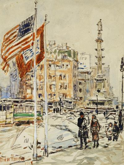 Flags, Columbus Circle, 1918-Childe Hassam-Giclee Print