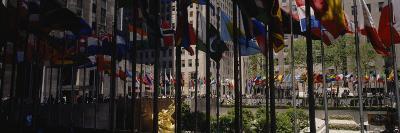 Flags in a Row, Rockefeller Plaza, Manhattan, New York, USA--Photographic Print