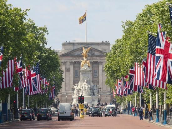 Flags Lining Mall to Buckingham Palace for President Obama's State Visit in 2011, London, England-Walter Rawlings-Photographic Print