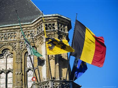 Flags of Belgium on the Right, Flanders in the Center on the Town Hall of Ghent, Flanders, Belgium-Richard Ashworth-Photographic Print
