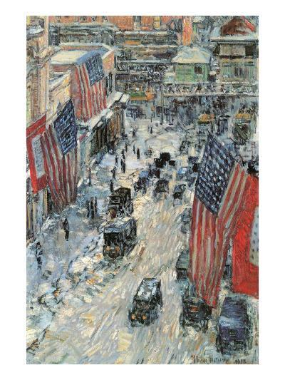 Flags on Fifth Avenue, Winter 1918-Childe Hassam-Art Print
