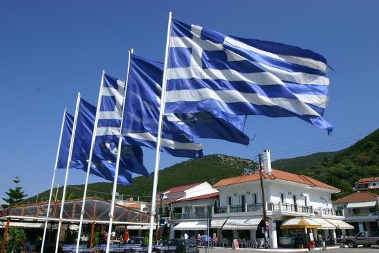 Flags on the Quayside, Sami, Kefalonia, Greece-Peter Thompson-Photographic Print