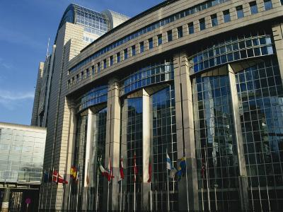 Flags Outside the European Commission and Parliament Buildings in Brussels, Belgium, Europe-David Hughes-Photographic Print