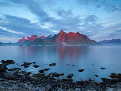 Flakstad Mountain Range Illuminated by Midnight Sun, Lofoten Islands, Norway-Doug Pearson-Photographic Print