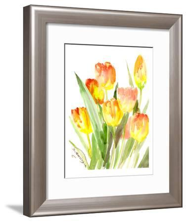 Flame Colored Tulips-Suren Nersisyan-Framed Art Print