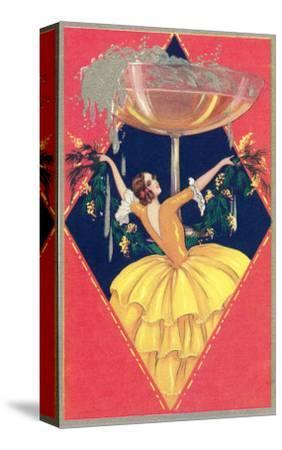 Flamenco Dancer with Giant Champagne Glass
