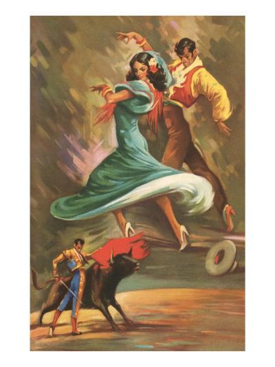 Flamenco Dancers and Bullfighter--Art Print
