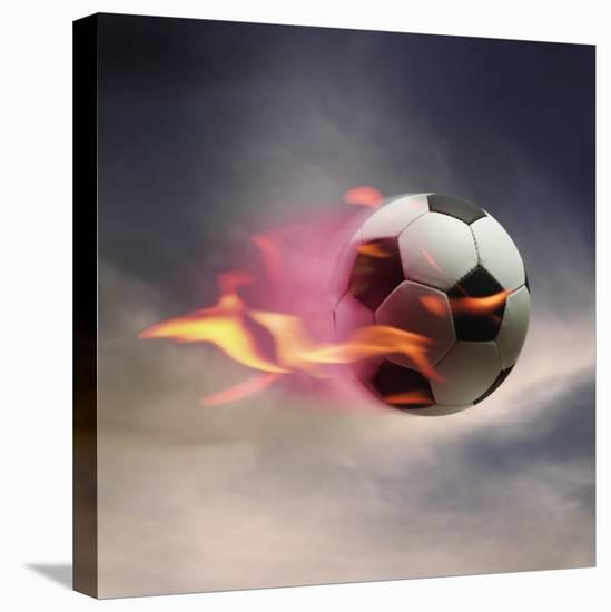 Flaming Soccer Ball--Stretched Canvas Print