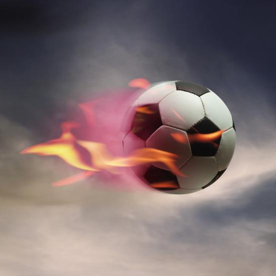 Flaming Soccer Ball--Photographic Print