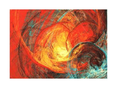 Flaming Sun. Abstract Painting Texture in Summer Color. Modern Futuristic Red Pattern. Bright Color-Excellent backgrounds-Art Print