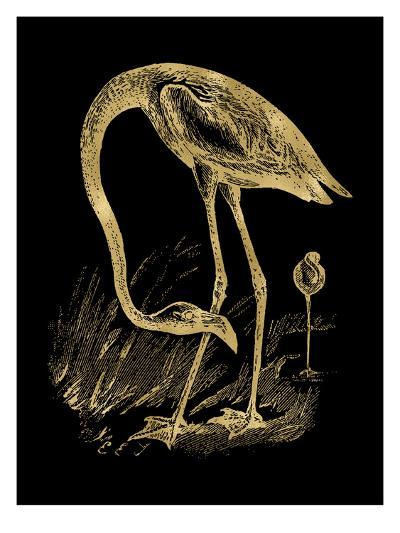 Flamingo 1 Golden Black-Amy Brinkman-Art Print