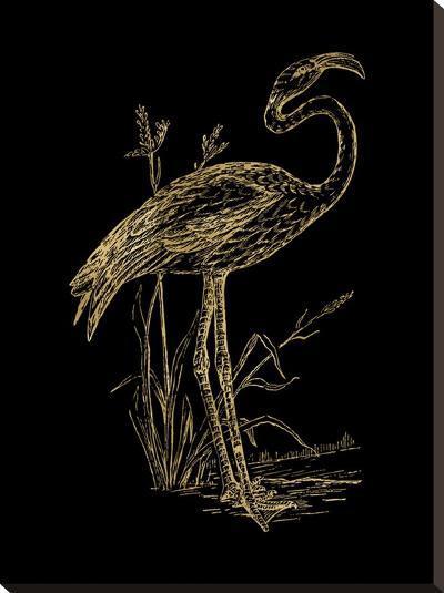 Flamingo 2 Golden Black-Amy Brinkman-Stretched Canvas Print