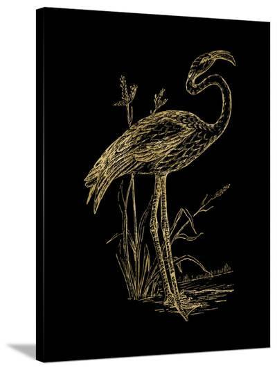 Flamingo 2 Golden Black-Amy Brinkman-Stretched Canvas Print