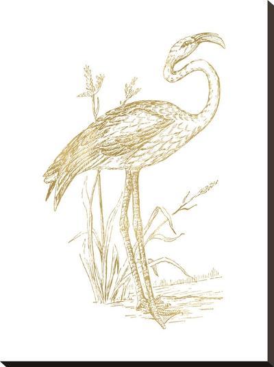 Flamingo 2 Golden White-Amy Brinkman-Stretched Canvas Print