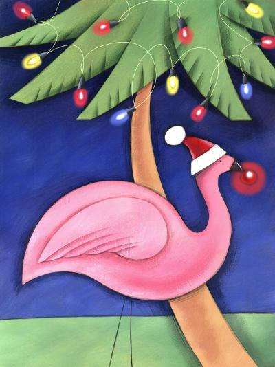 Flamingo Lawn Ornament and Christmas Lights in Palm Trees--Photo