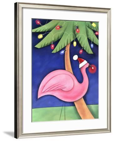Flamingo Lawn Ornament and Christmas Lights in Palm Trees--Framed Photo