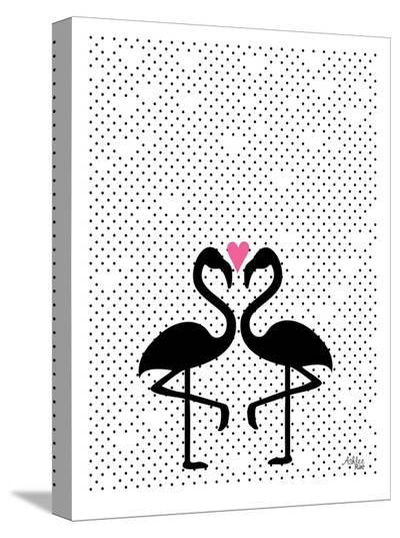 Flamingo Love-Ashlee Rae-Stretched Canvas Print