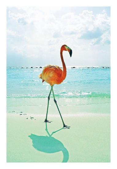 Flamingo on the Beach-Tai Prints-Art Print