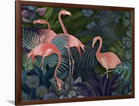 Flamingos in Blue Garden-Fab Funky-Framed Giclee Print