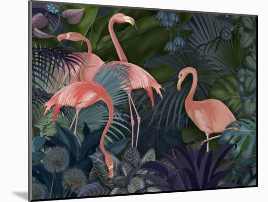 Flamingos in Blue Garden-Fab Funky-Mounted Giclee Print