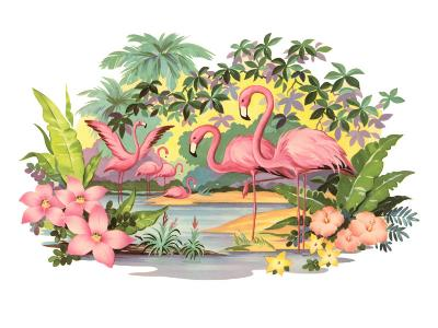 Flamingos in the Tropics--Art Print