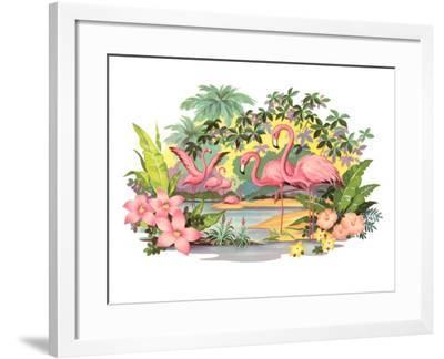 Flamingos in the Tropics--Framed Art Print