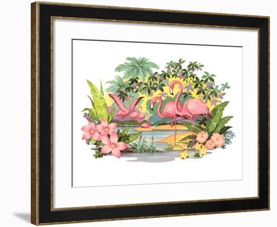 Flamingos in the Tropics--Framed Art Print
