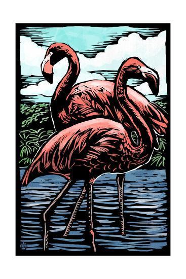 Flamingos - Scratchboard-Lantern Press-Art Print