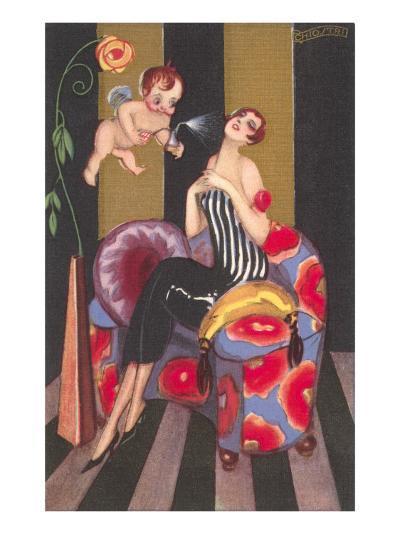 Flapper Sprayed by Perfume-Bearing Cherub--Art Print