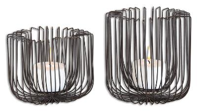 Flare Black Wire Candleholders S/2--Home Accessories