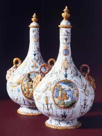 Flasks, Ceramic, Urbino Manufacture, Marche. Italy, 16th Century--Giclee Print