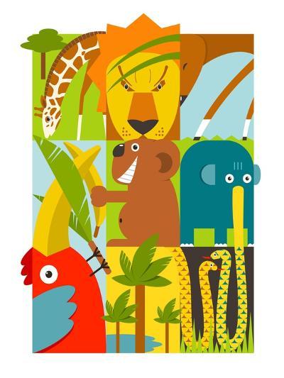 Flat African Animals Symbols Set. Giraffe Lion Elephant Toucan Gazelle Palm. Vector Illustration EP-Popmarleo-Art Print