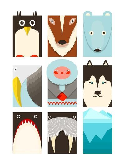 Flat Arctic Symbols Set. North Pole Animals Collection. Vector Layered Eps8 Illustration.-Popmarleo-Art Print