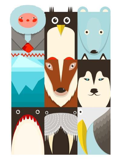 Flat Arctic Symbols Set. North Pole Animals Collection. Vector Layered Eps8 Illustration.-Popmarleo-Art Print