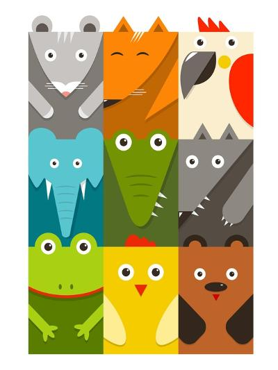 Flat Childish Rectangular Animals Set. Animals Design Collection. Vector Layered Eps8 Illustration.-Popmarleo-Art Print